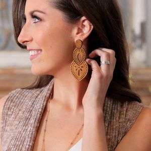 Jewelry - Light Brown Wood Filigree Earrings